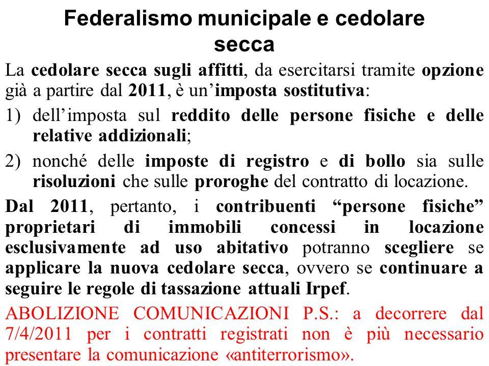 Federalismo municipale e cedolare secca