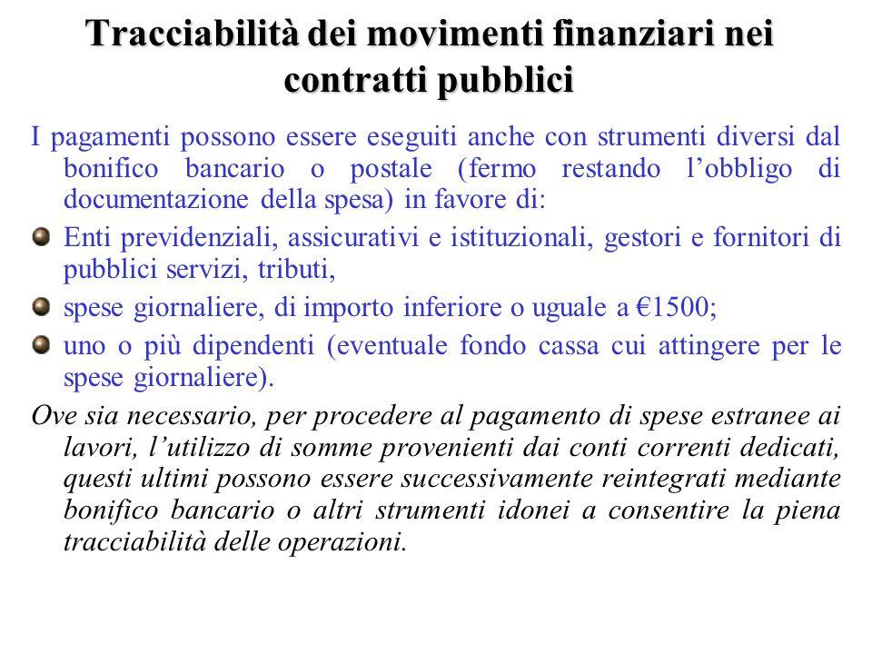 Tracciabilità dei movimenti finanziari nei contratti pubblici