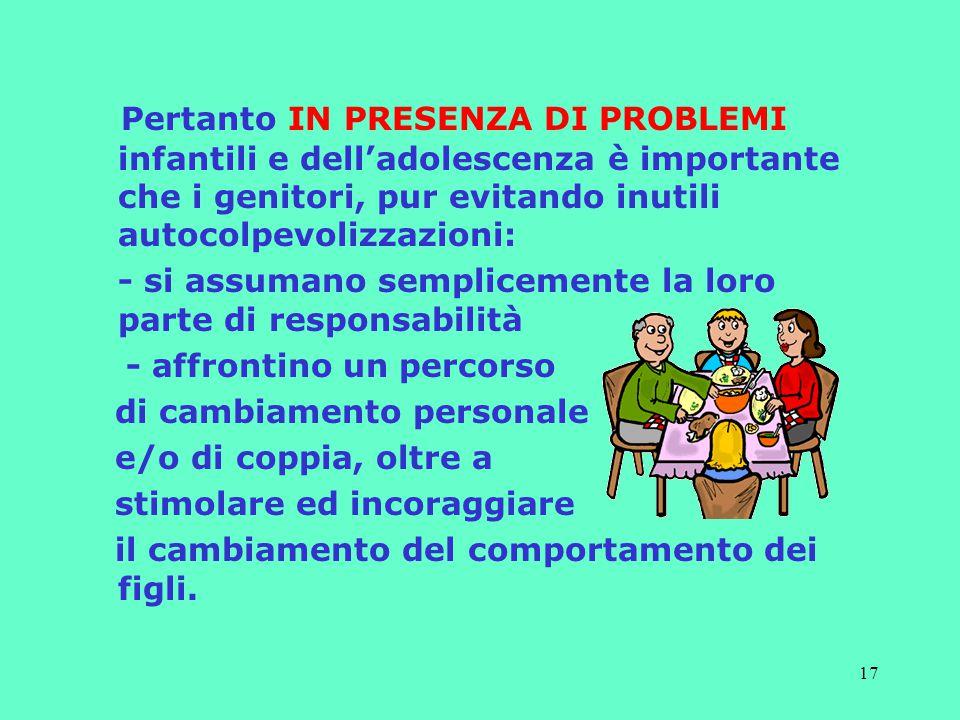 Pertanto IN PRESENZA DI PROBLEMI infantili e dell'adolescenza è importante che i genitori, pur evitando inutili autocolpevolizzazioni:
