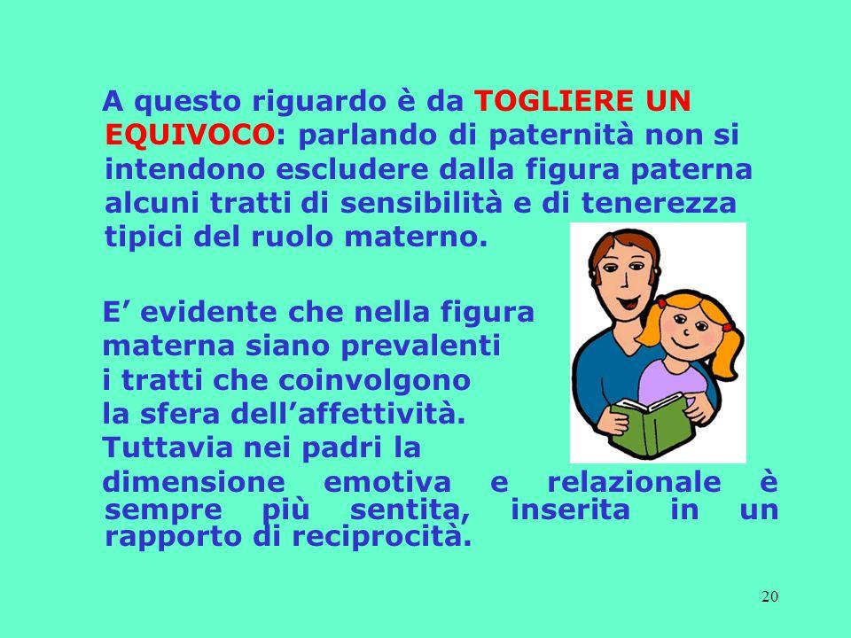 A questo riguardo è da TOGLIERE UN EQUIVOCO: parlando di paternità non si intendono escludere dalla figura paterna alcuni tratti di sensibilità e di tenerezza tipici del ruolo materno.