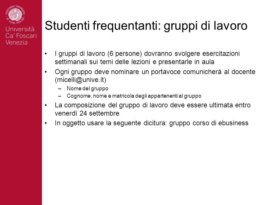 Studenti frequentanti: gruppi di lavoro