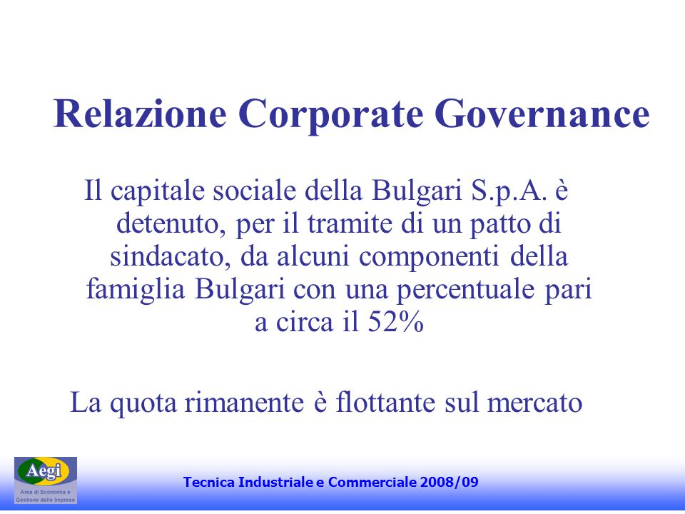 Relazione Corporate Governance