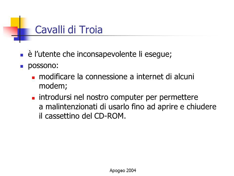 Cavalli di Troia è l'utente che inconsapevolente li esegue; possono: