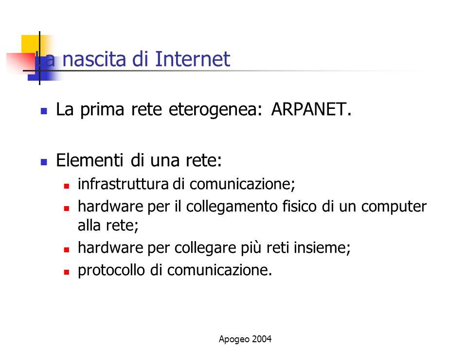 La nascita di Internet La prima rete eterogenea: ARPANET.