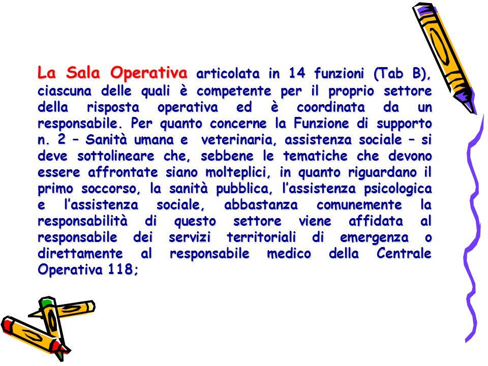 La Sala Operativa articolata in 14 funzioni (Tab B), ciascuna delle quali è competente per il proprio settore della risposta operativa ed è coordinata da un responsabile.