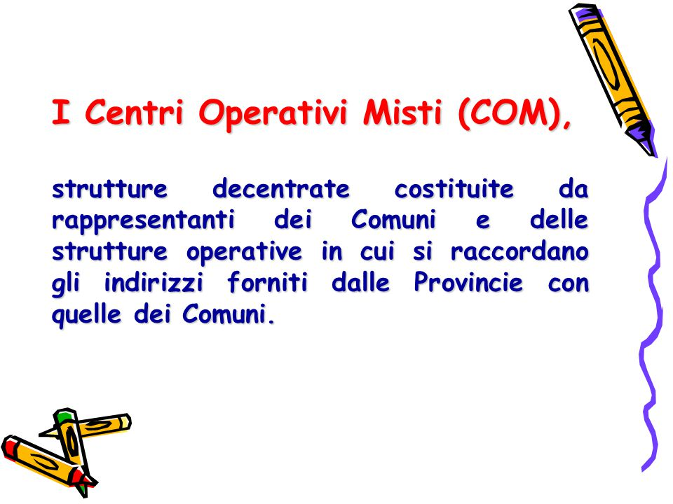 I Centri Operativi Misti (COM),