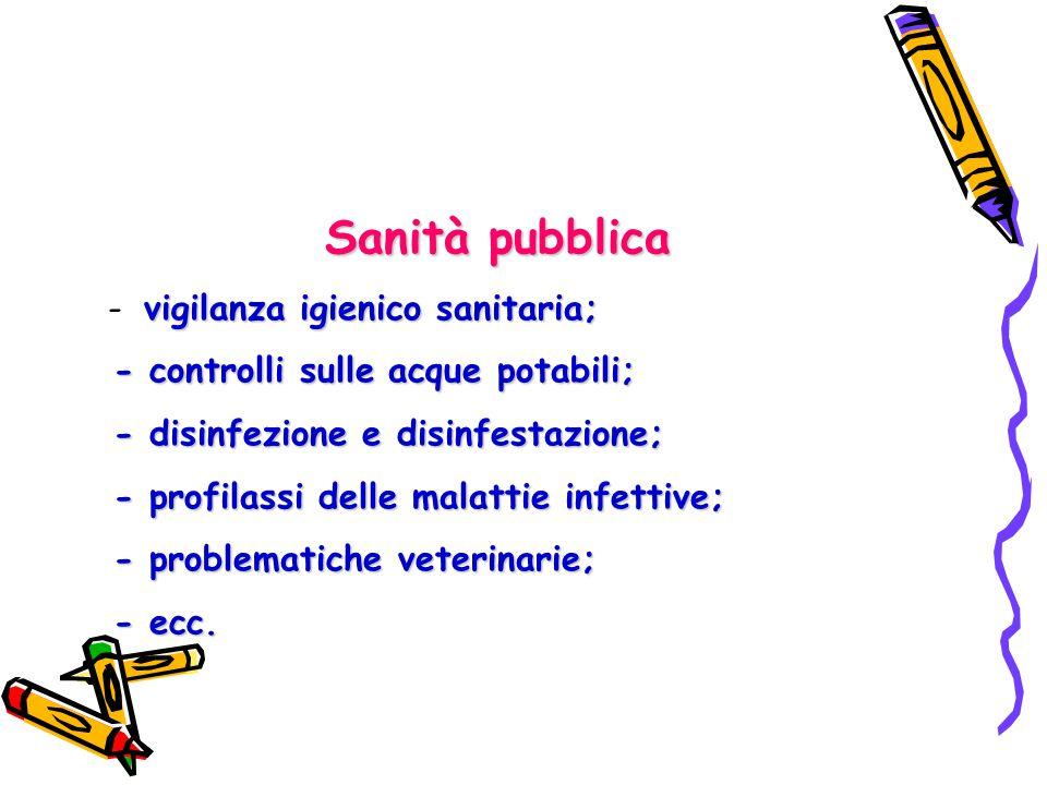 Sanità pubblica - vigilanza igienico sanitaria;