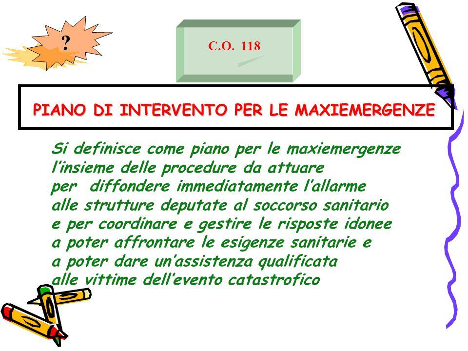 PIANO DI INTERVENTO PER LE MAXIEMERGENZE