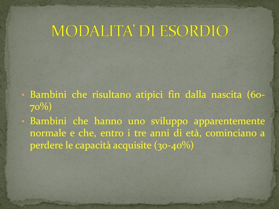 MODALITA' DI ESORDIO 09/03/12