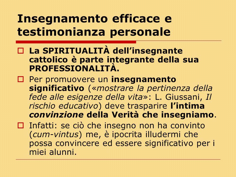 Insegnamento efficace e testimonianza personale