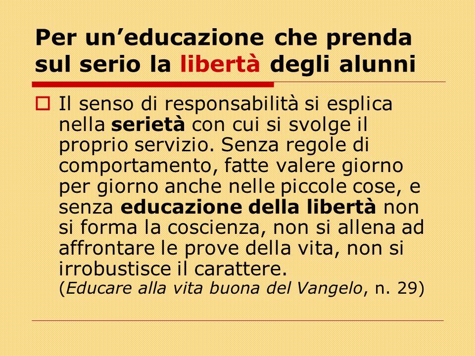 Per un'educazione che prenda sul serio la libertà degli alunni