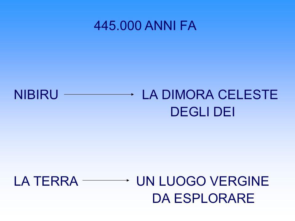 445.000 ANNI FA NIBIRU LA DIMORA CELESTE. DEGLI DEI. LA TERRA UN LUOGO VERGINE.