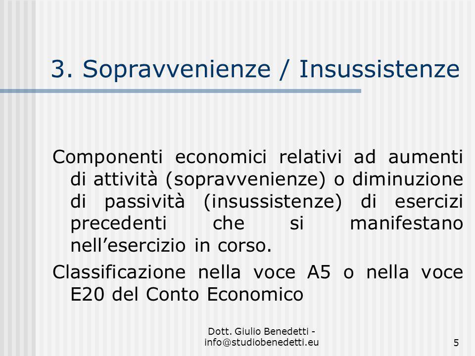 3. Sopravvenienze / Insussistenze