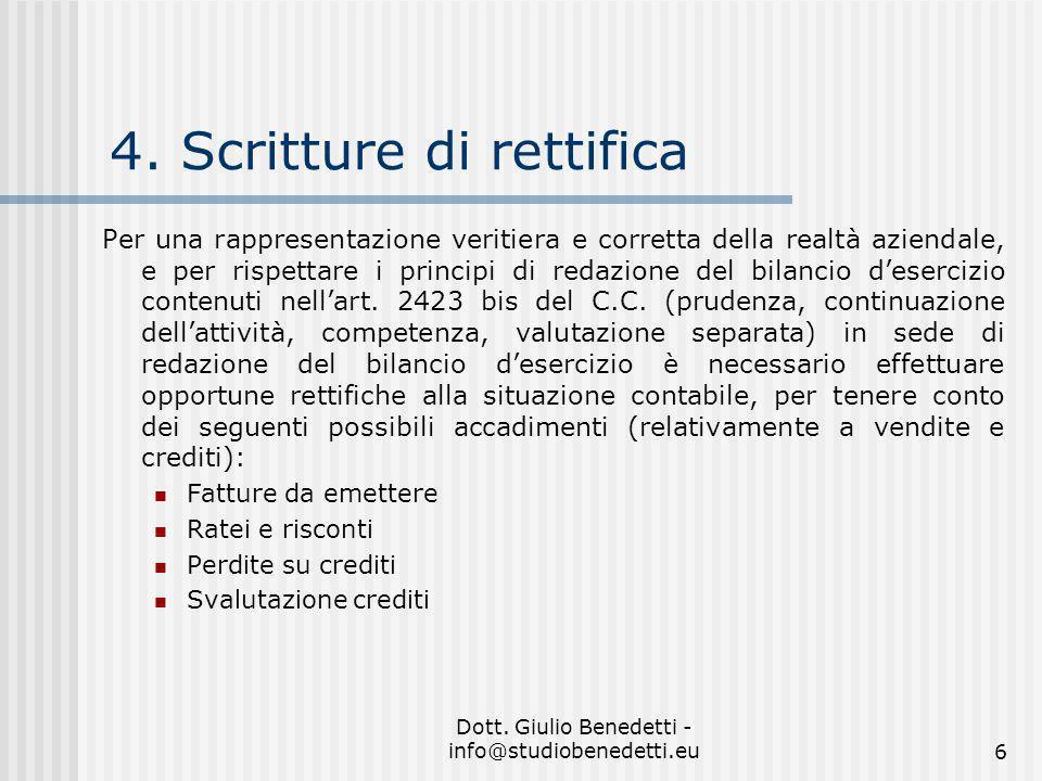 4. Scritture di rettifica