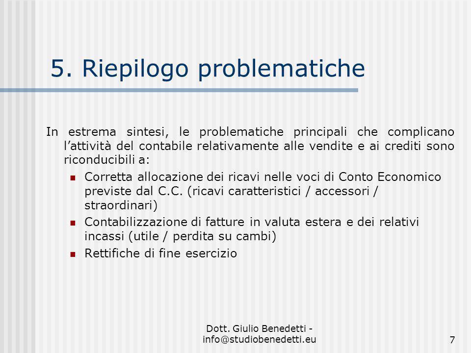 5. Riepilogo problematiche