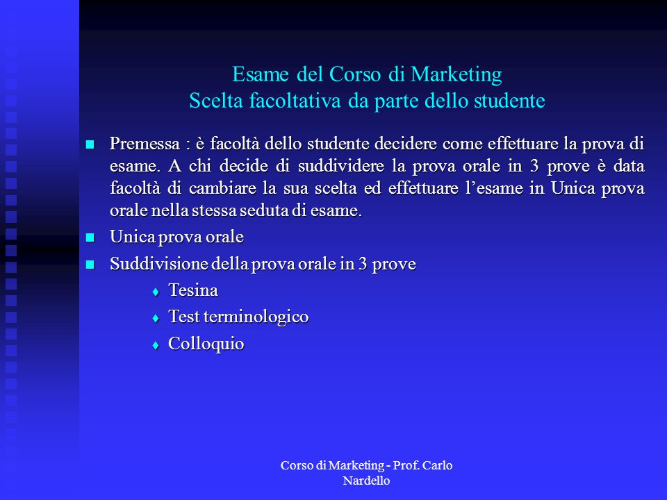Corso di Marketing - Prof. Carlo Nardello