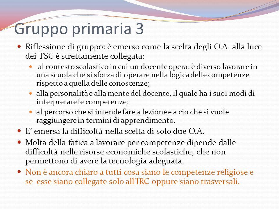 Gruppo primaria 3 Riflessione di gruppo: è emerso come la scelta degli O.A. alla luce dei TSC è strettamente collegata: