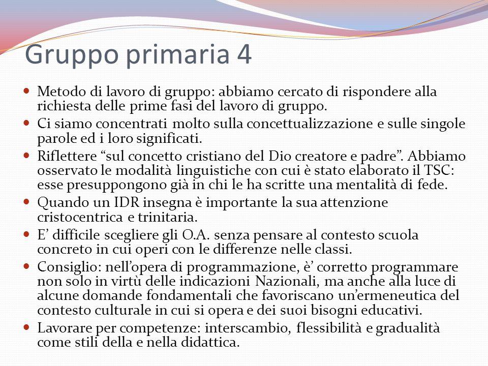 Gruppo primaria 4 Metodo di lavoro di gruppo: abbiamo cercato di rispondere alla richiesta delle prime fasi del lavoro di gruppo.