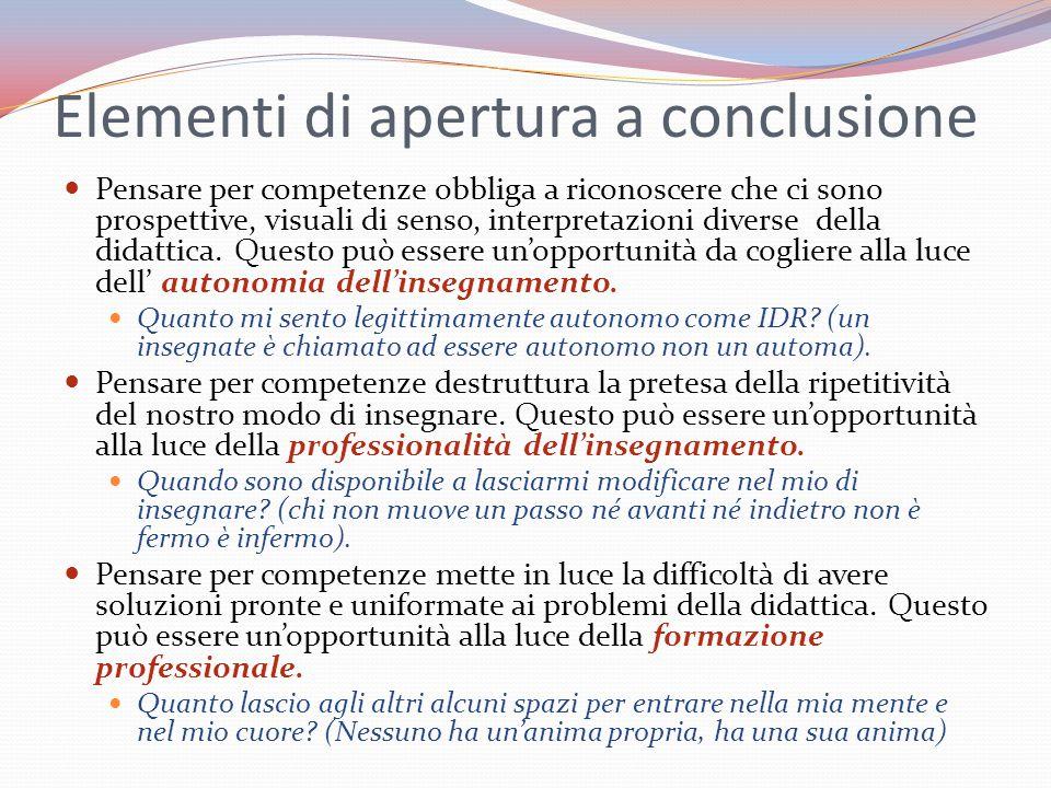 Elementi di apertura a conclusione