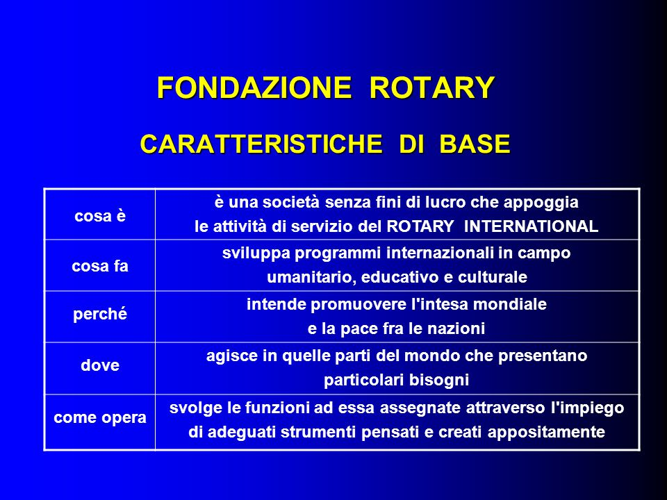 FONDAZIONE ROTARY CARATTERISTICHE DI BASE