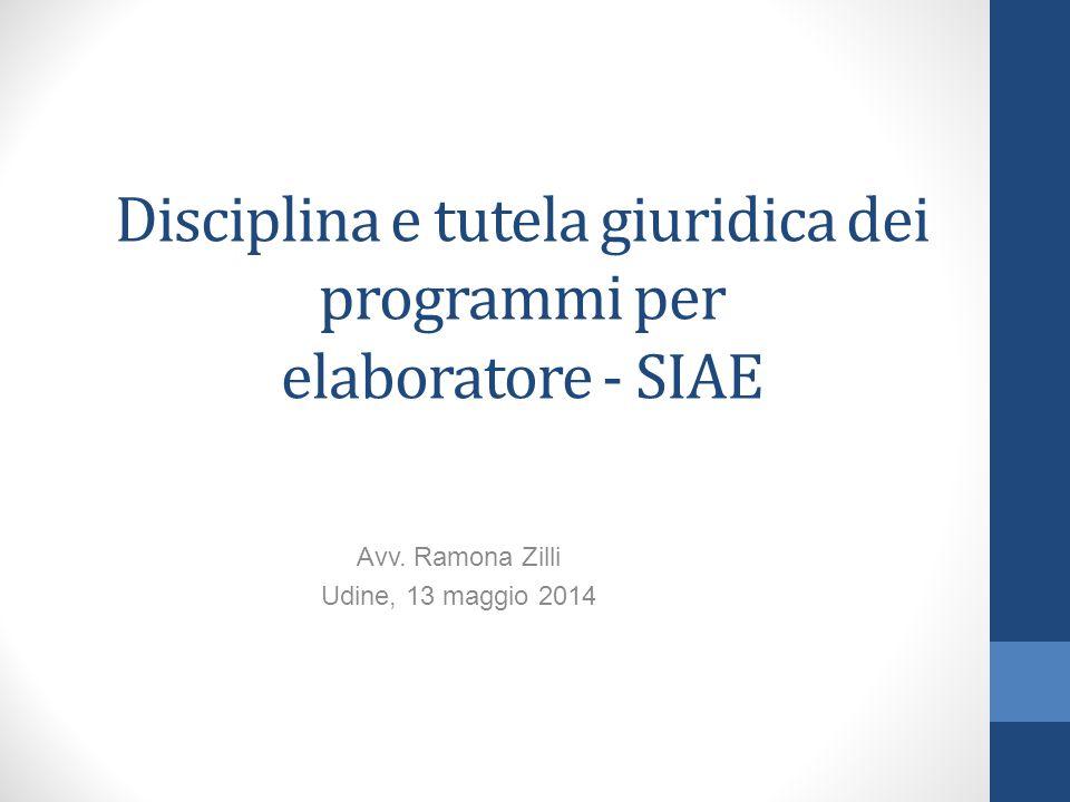 Disciplina e tutela giuridica dei programmi per elaboratore - SIAE