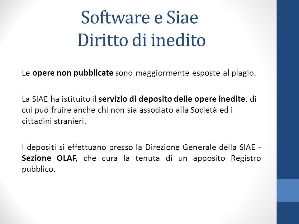 Software e Siae Diritto di inedito