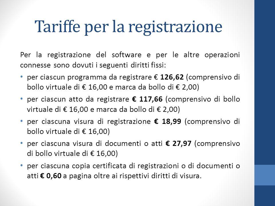Tariffe per la registrazione