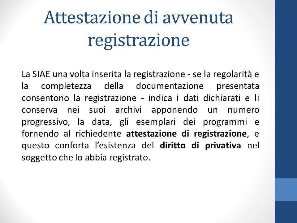 Attestazione di avvenuta registrazione