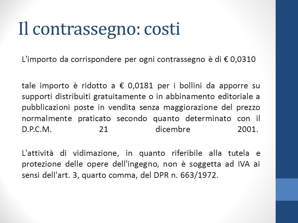 Il contrassegno: costi
