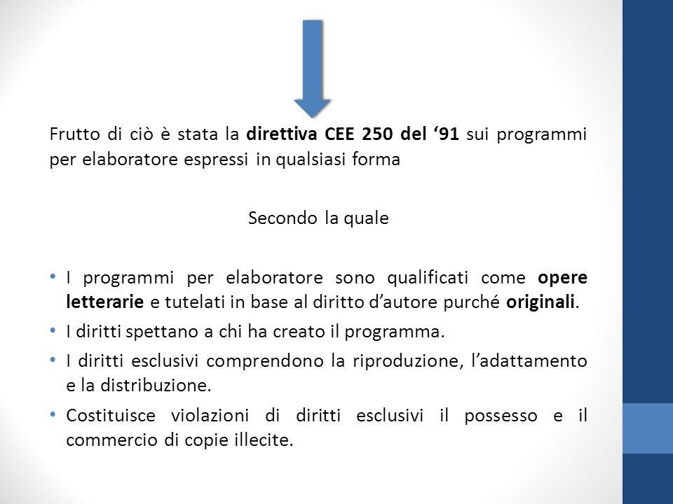 Frutto di ciò è stata la direttiva CEE 250 del '91 sui programmi per elaboratore espressi in qualsiasi forma