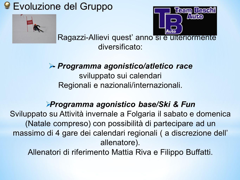 Evoluzione del Gruppo Il gruppo Ragazzi-Allievi quest' anno si è ulteriormente diversificato: - Programma agonistico/atletico race.