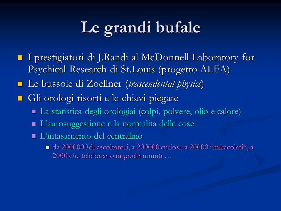 Le grandi bufale I prestigiatori di J.Randi al McDonnell Laboratory for Psychical Research di St.Louis (progetto ALFA)