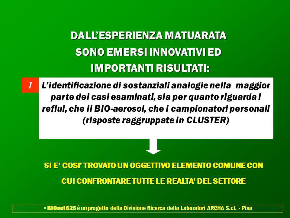 DALL'ESPERIENZA MATUARATA SONO EMERSI INNOVATIVI ED