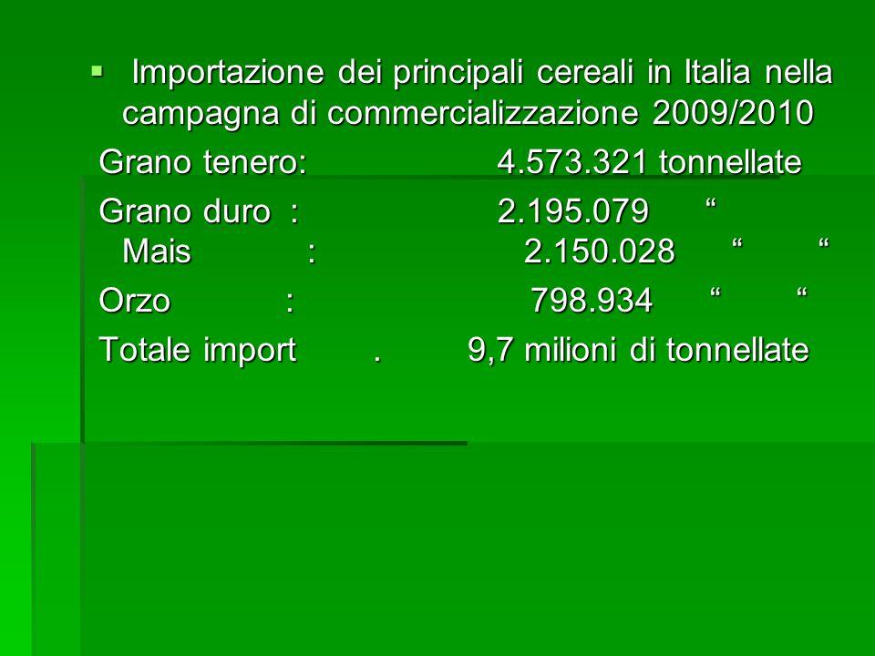 Importazione dei principali cereali in Italia nella campagna di commercializzazione 2009/2010