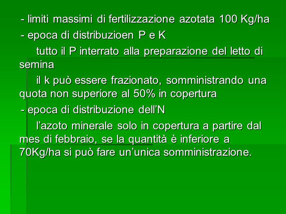 - limiti massimi di fertilizzazione azotata 100 Kg/ha