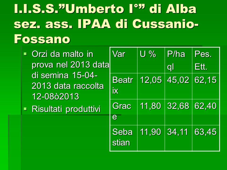I.I.S.S. Umberto I° di Alba sez. ass. IPAA di Cussanio-Fossano