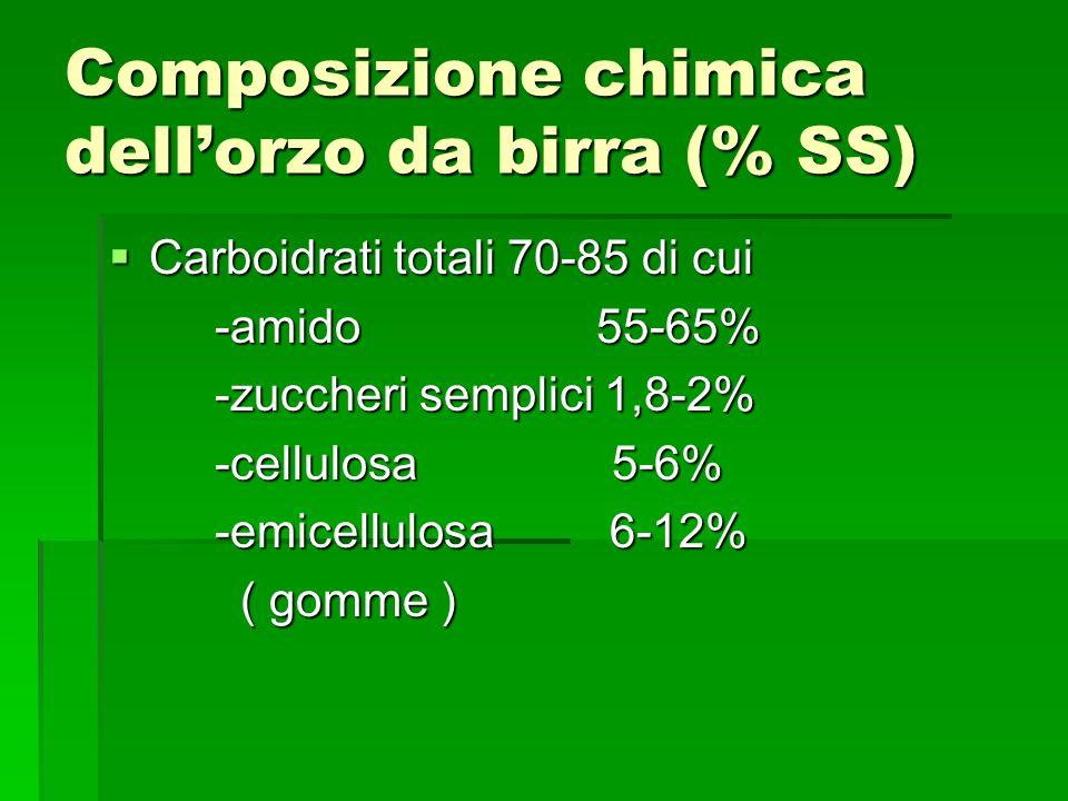 Composizione chimica dell'orzo da birra (% SS)