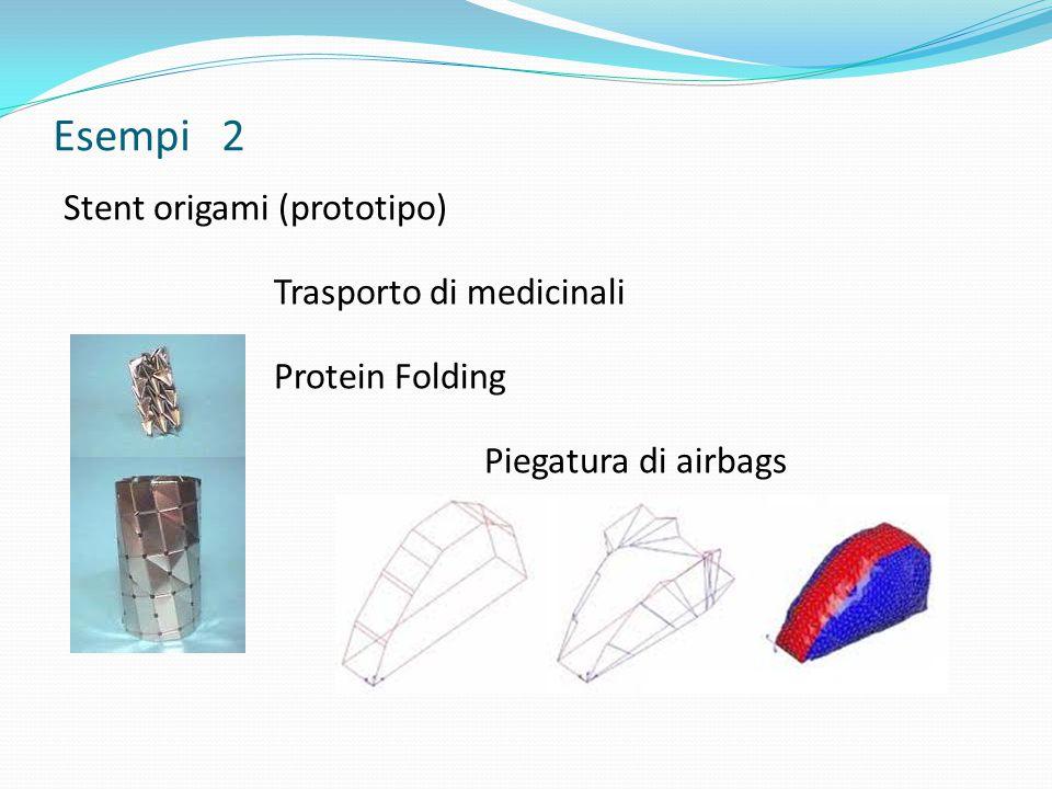 Esempi 2 Stent origami (prototipo) Trasporto di medicinali Protein Folding Piegatura di airbags