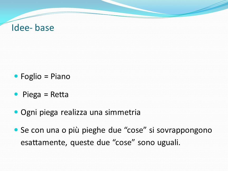 Idee- base Foglio = Piano Piega = Retta