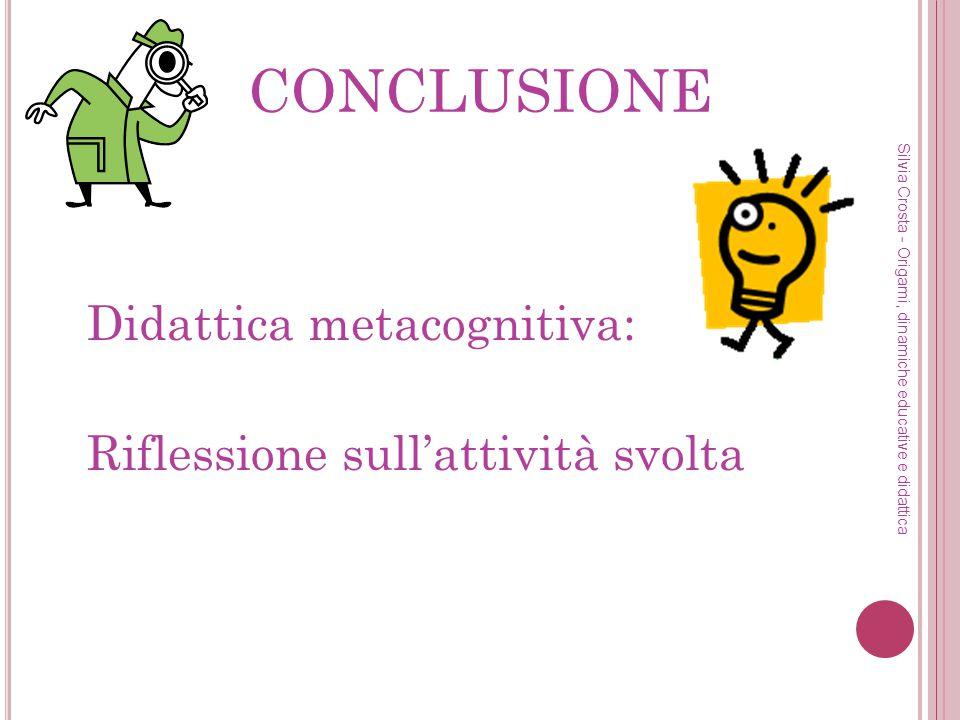 CONCLUSIONE Didattica metacognitiva: Riflessione sull'attività svolta