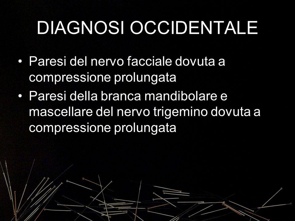DIAGNOSI OCCIDENTALE Paresi del nervo facciale dovuta a compressione prolungata.