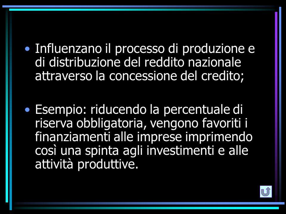 Influenzano il processo di produzione e di distribuzione del reddito nazionale attraverso la concessione del credito;