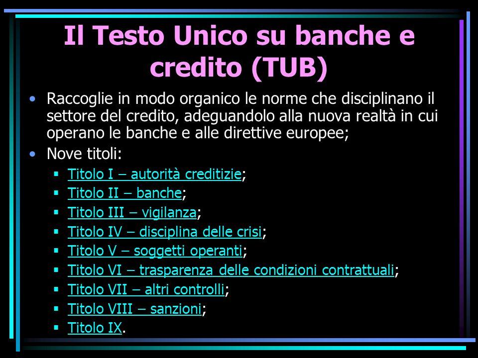 Il Testo Unico su banche e credito (TUB)