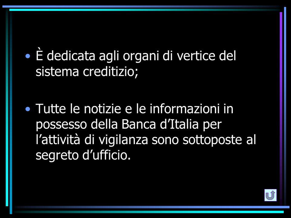È dedicata agli organi di vertice del sistema creditizio;