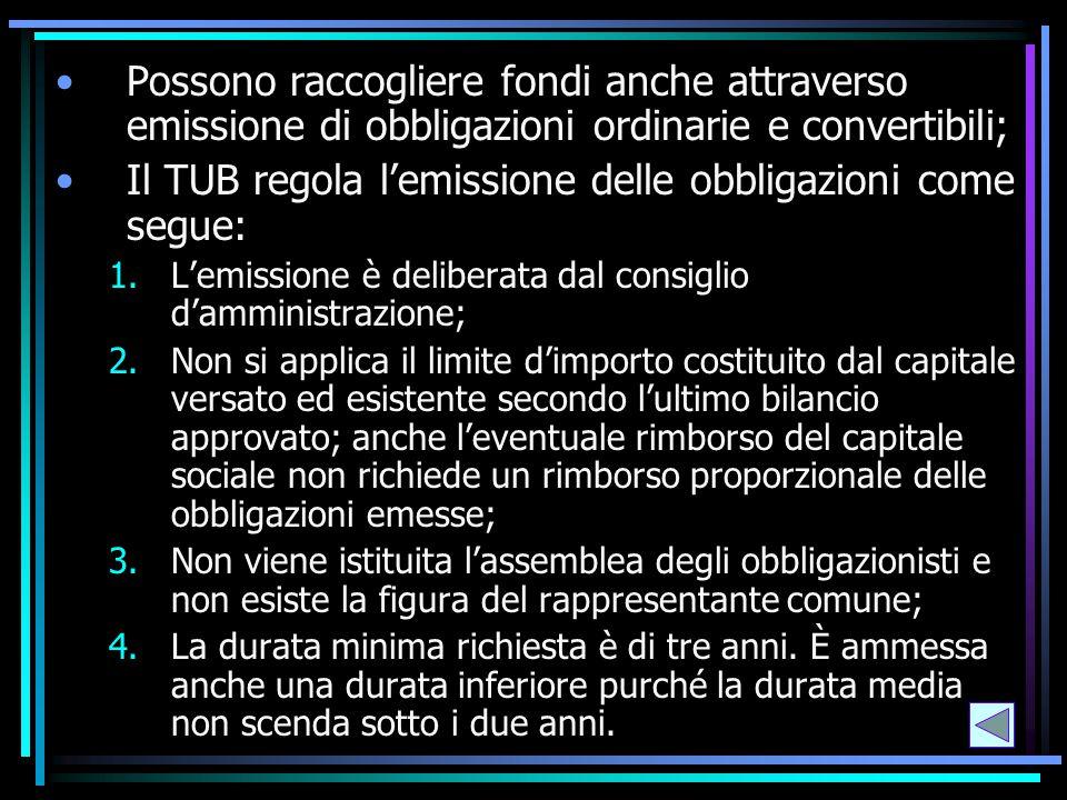 Il TUB regola l'emissione delle obbligazioni come segue: