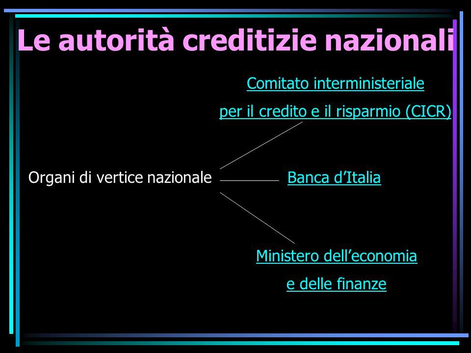 Le autorità creditizie nazionali