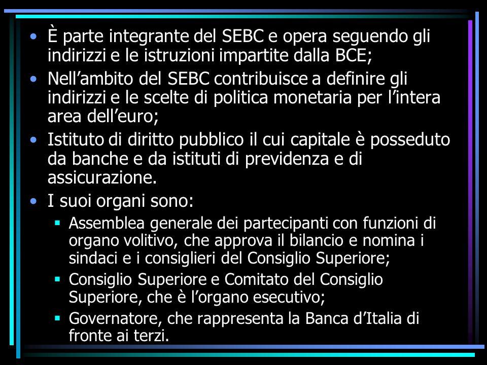 È parte integrante del SEBC e opera seguendo gli indirizzi e le istruzioni impartite dalla BCE;