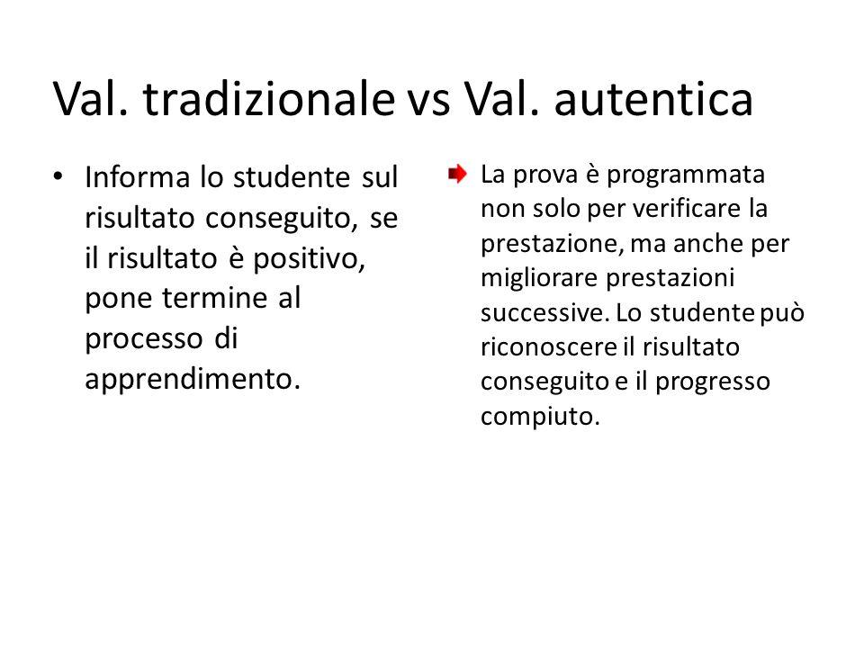 Val. tradizionale vs Val. autentica