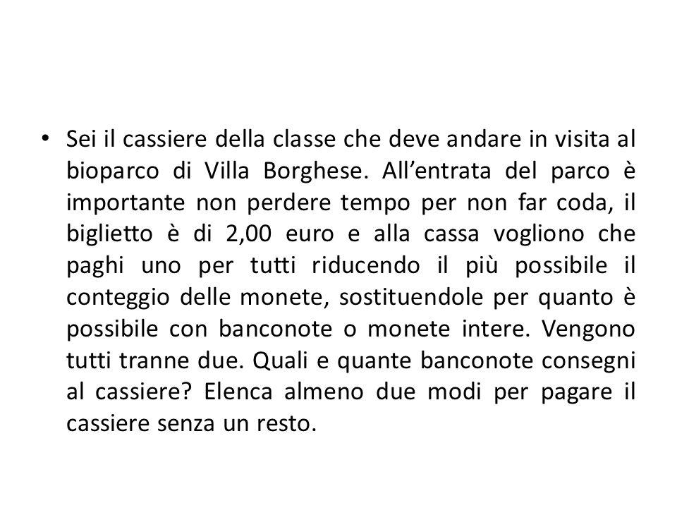Sei il cassiere della classe che deve andare in visita al bioparco di Villa Borghese.