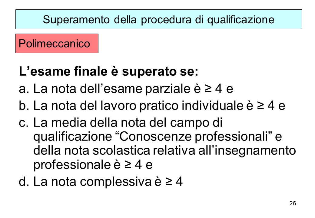 Superamento della procedura di qualificazione